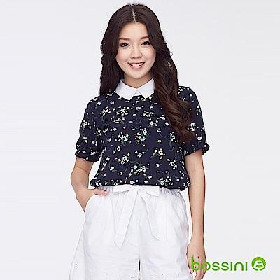 bossini女裝-短袖碎花罩衫海軍藍
