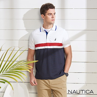 Nautica 合身款吸濕快乾短袖POLO衫-紅藍