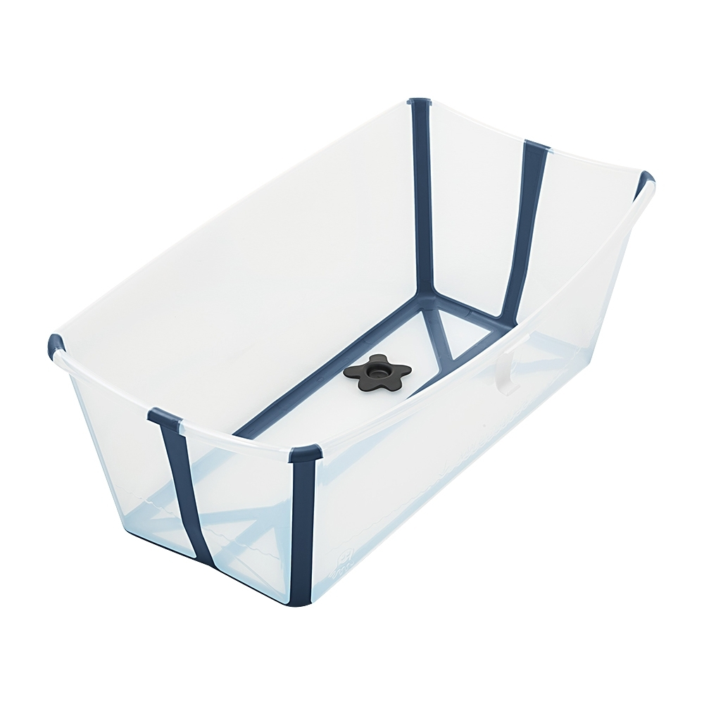 Stokke FlexI Bath 折疊式浴盆-感溫水塞-透明藍