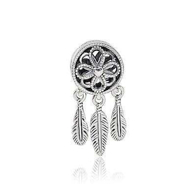 Pandora 潘朵拉 愛心羽毛捕夢網 純銀墜飾 串珠