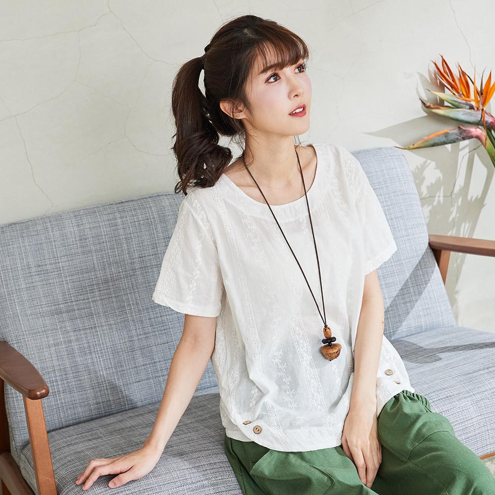 慢 生活 蕾絲刺繡織條上衣- 綠/白