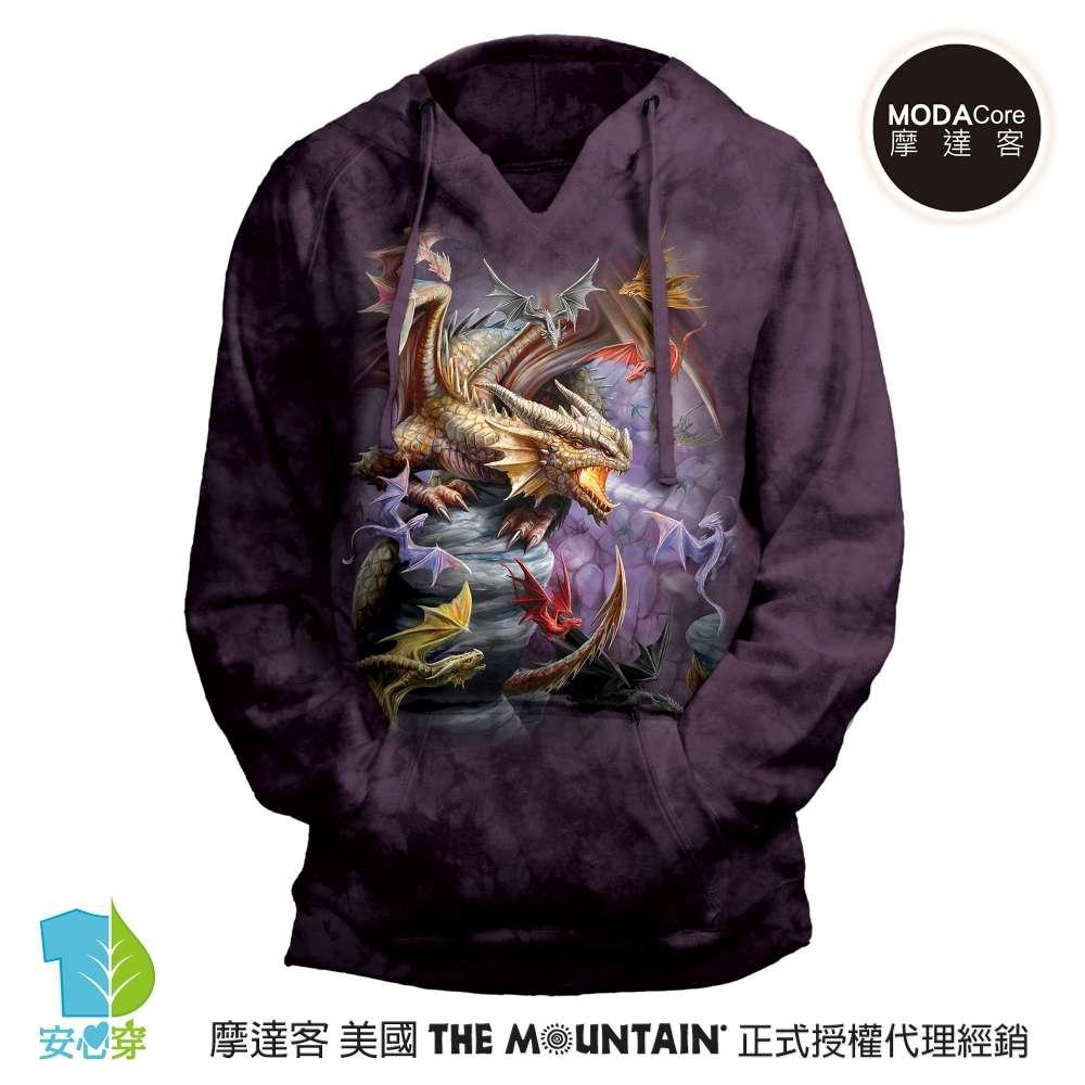 摩達客 預購 美國進口The Mountain 龍群 女版V領長袖連帽T恤