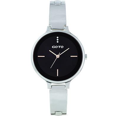 GOTO奢華簡約070系列時尚手錶-黑/39mm