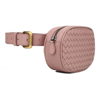BOTTEGA VENETA 經典編織小羊皮拉鍊胸掛腰包(粉色)