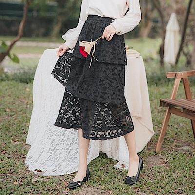 微透膚磨毛蕾絲蛋糕長裙-OB大尺碼