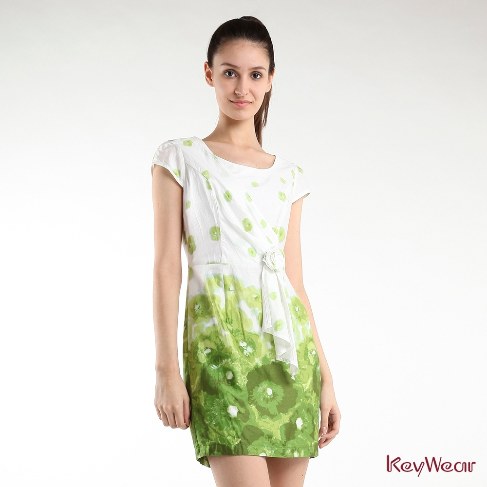 KeyWear奇威名品    清新可人漸層色調短袖洋裝-白色