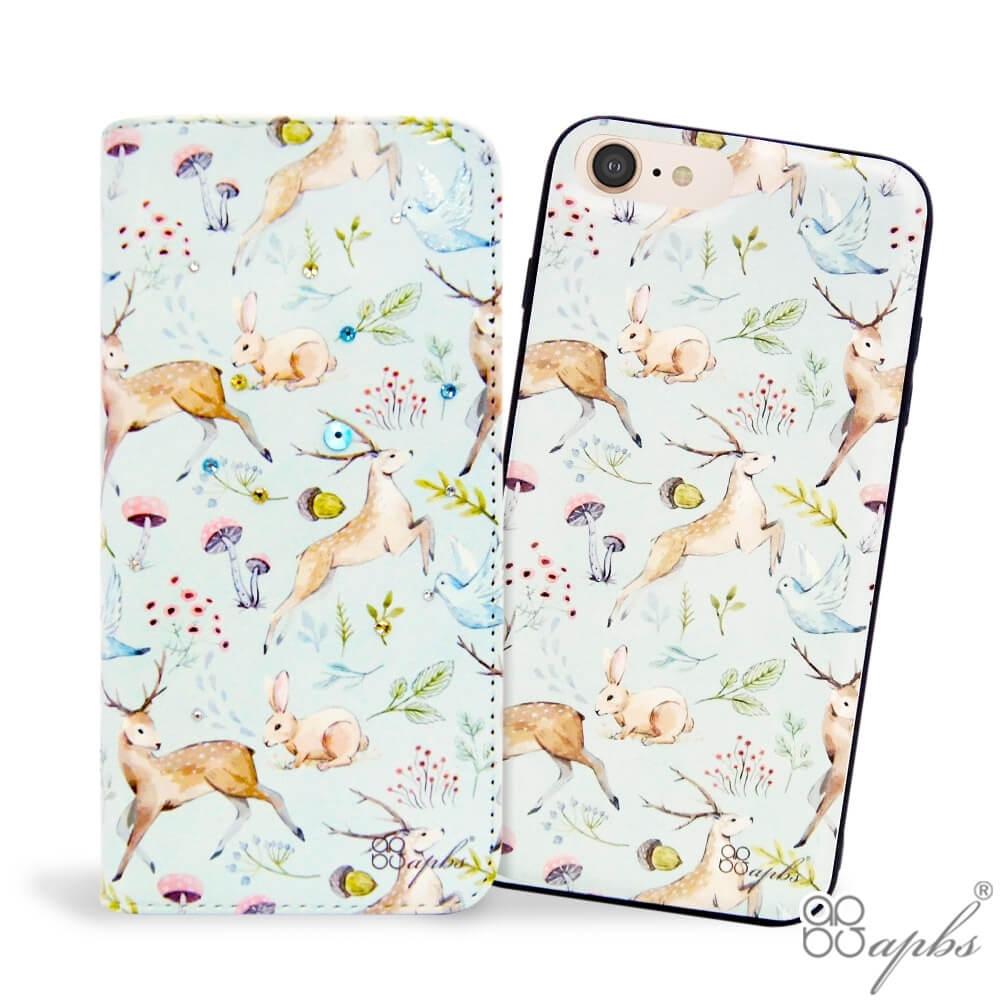 apbs iPhone 8/7/6s/6 Plus 兩用施華彩鑽磁吸手機殼皮套-清新森林