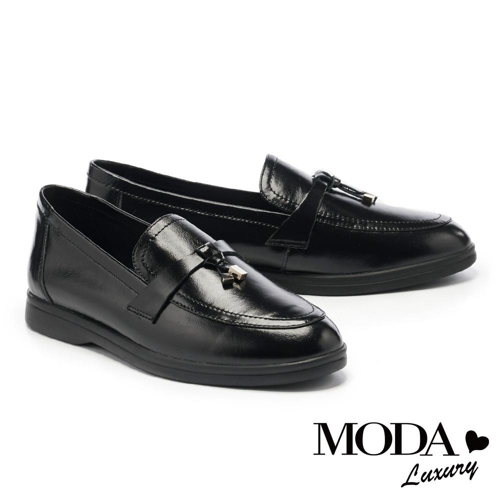 低跟鞋 MODA Luxury 率性簡約經典素色全真皮樂福厚底鞋-黑
