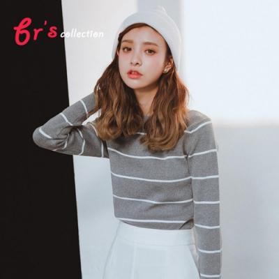 【brs】針織條紋休閒修身上衣-3色