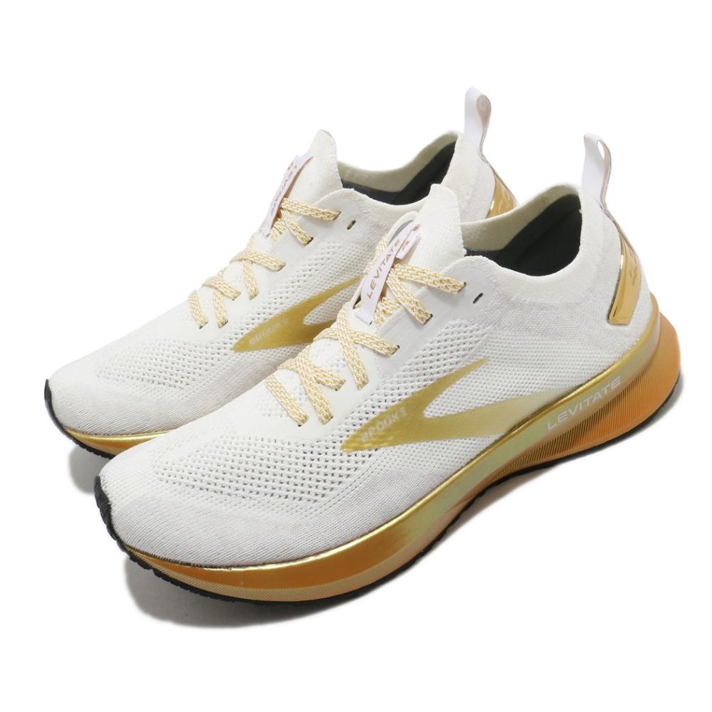 Brooks 慢跑鞋 Levitate 4 Victory 女鞋 路跑 緩震 DNA科技 透氣 健身 球鞋 白 金 1203351B102