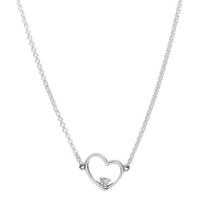 Pandora 潘朵拉 閃耀鑲鋯不對襯愛心 925純銀項鍊