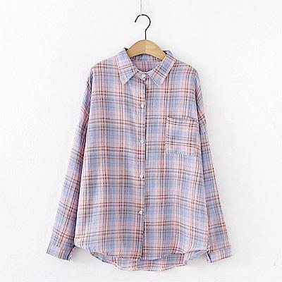 DABI 韓系格子襯衫寬鬆復古百搭格紋輕熟長袖上衣