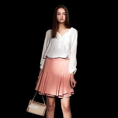 Chaber巧帛 氣質微甜打摺疊層設計造型圓裙-粉藕色