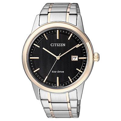 CITIZEN  雅痞風尚雙色調光動能石英腕錶(AW1238-59E)-黑/39mm