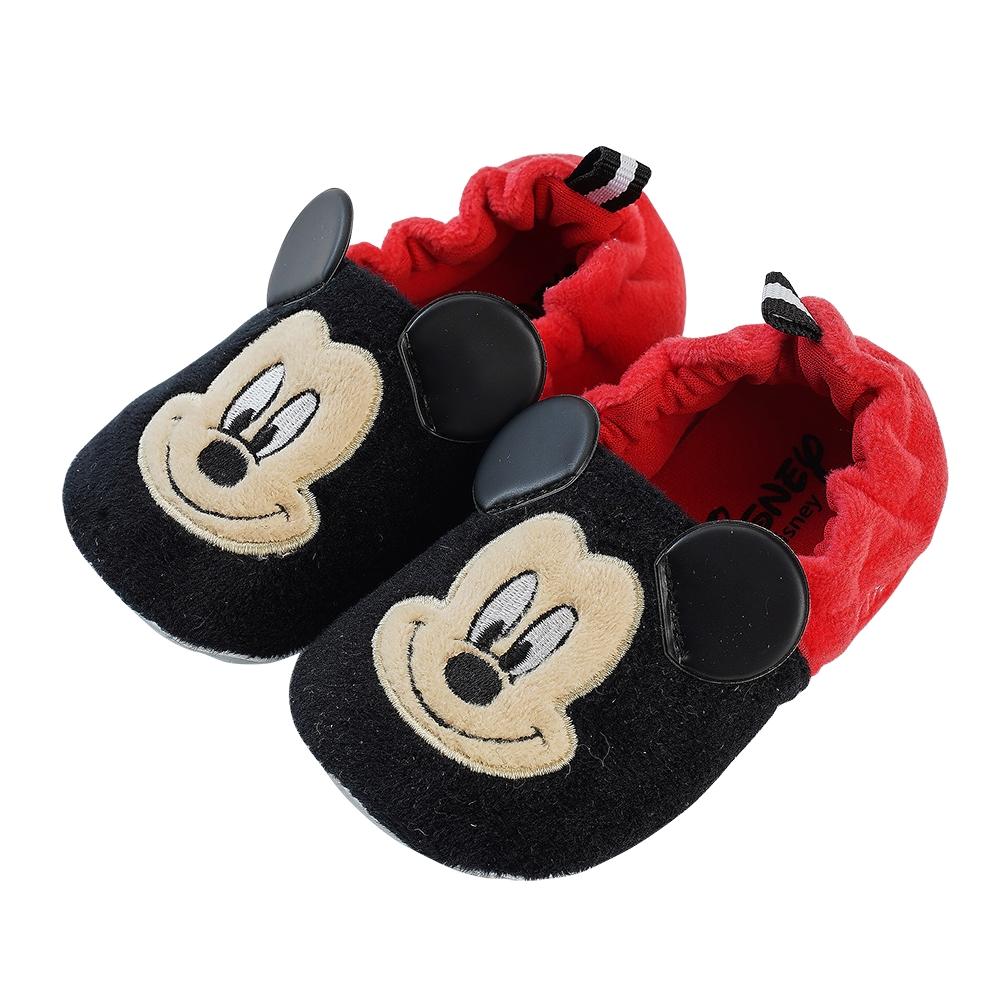 迪士尼童鞋 米奇 柔毛電繡寶寶學步鞋-黑紅(柏睿鞋業)