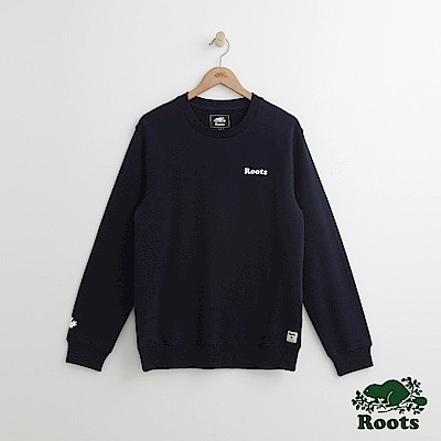 Roots 男裝-左胸字標圓領上衣-藍色