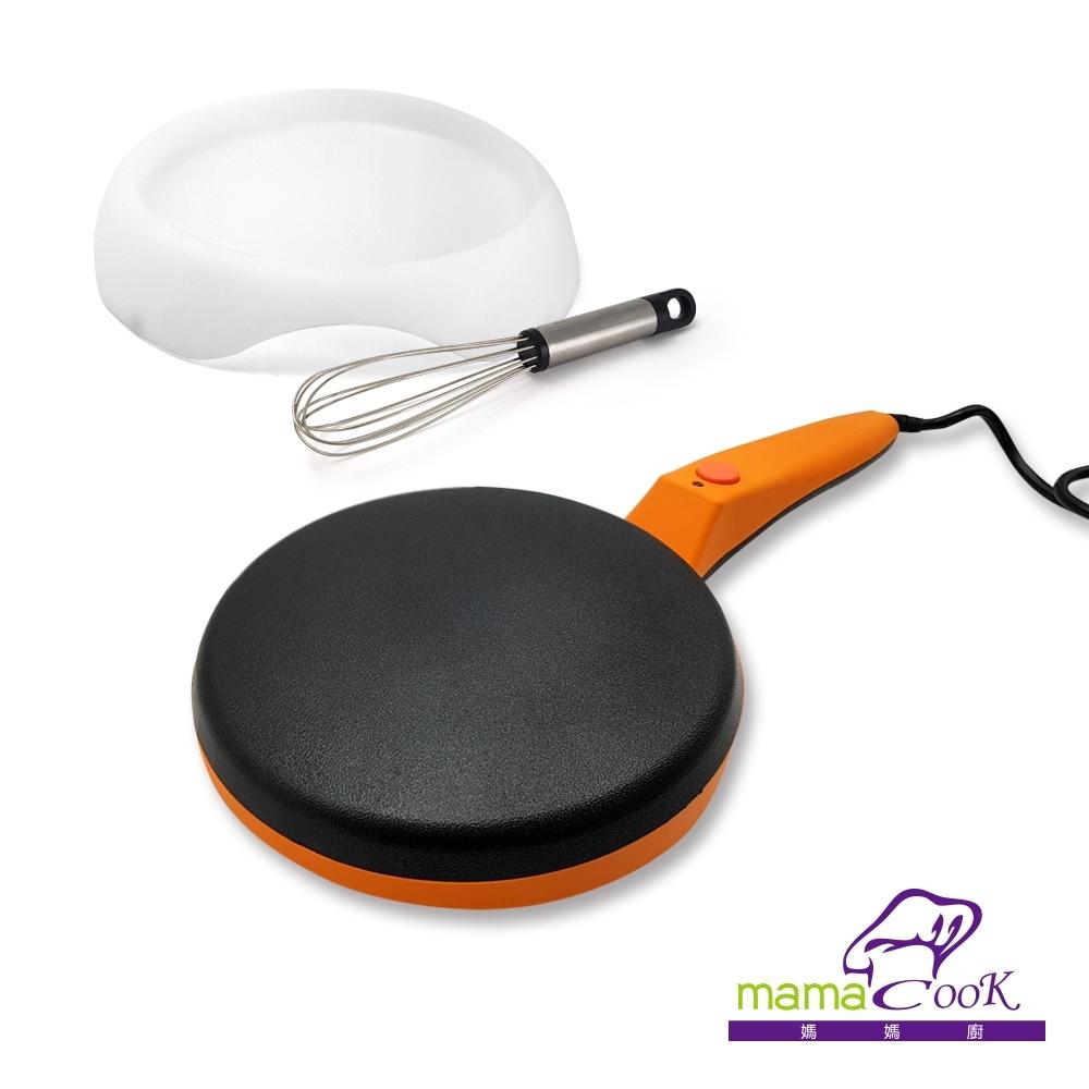 義大利Mama Cook無油煙輕食美味薄餅機20cm(附麵粉盤、攪拌棒)
