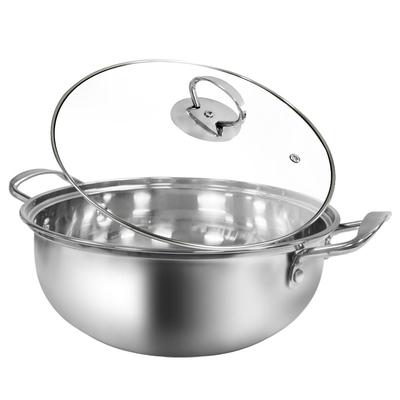 馬露塔 Maluta 304不鏽鋼火鍋湯鍋-25cm 附強化玻璃蓋 (電磁爐、瓦斯爐、陶瓷爐、電爐等適用)