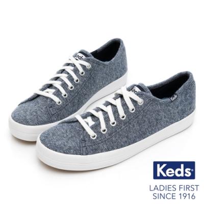 Keds KICKSTART 美式線條織紋休閒鞋-灰藍