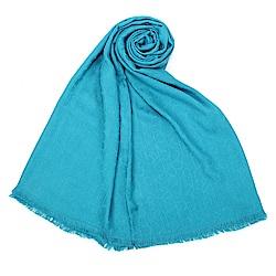 Calvin Klein CK滿版LOGO絲質寬版披肩圍巾-孔雀藍