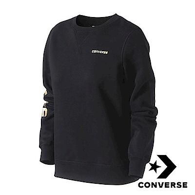 CONVERSE-女休閒長袖上衣-黑-100055