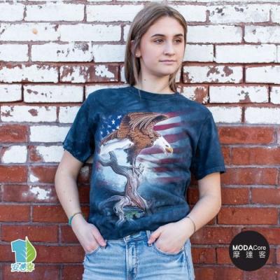 摩達客-美國進口The Mountain 愛國站立鷹 純棉環保藝術中性短袖T恤