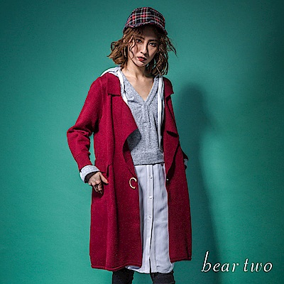 beartwo 率性V領風衣型針織外套(二色)