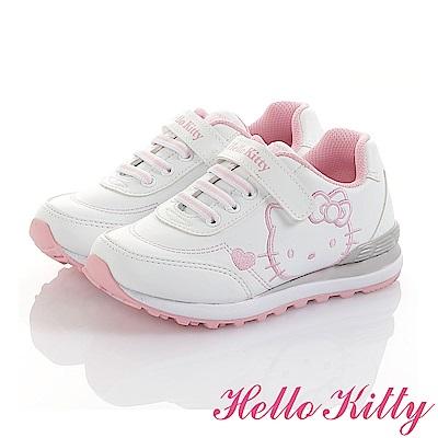 HelloKitty童鞋 小白鞋-減壓抗菌防臭慢跑鞋-白粉