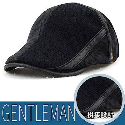 VOSUN 新型男 錐形拼色 時尚戶外保暖紳士帽_黑色