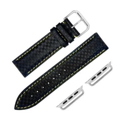 Apple Watch 蘋果手錶替用錶帶 仿碳纖維 矽膠錶帶-黑黃色