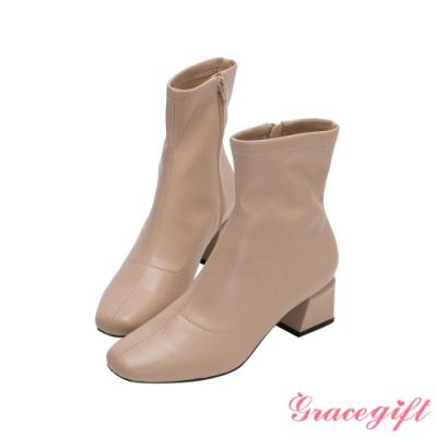 Grace gift-微方頭造型中跟短靴 杏