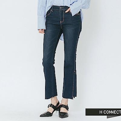 H:CONNECT 韓國品牌 女裝-剪裁拼接小喇叭褲-藍