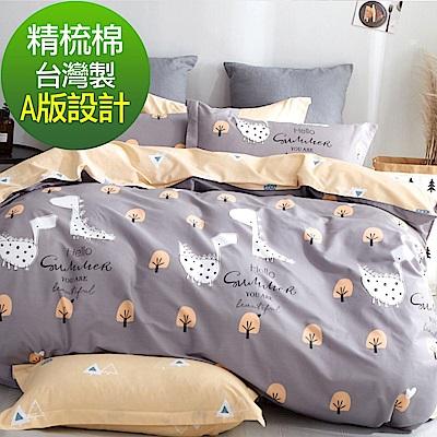 La Lune 台灣製40支精梳純棉雙人床包枕套三件組 小小的幸福感