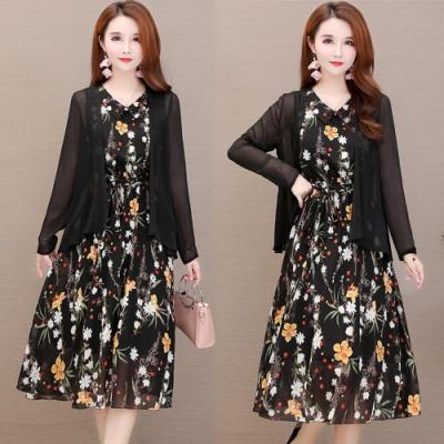 【韓國K.W.】(預購)   優美氣質花形二件式洋裝