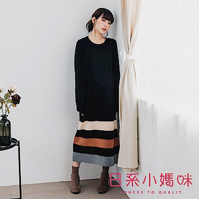 日系小媽咪孕婦裝-韓製孕婦裝~好感魅力下襬撞色針織洋裝 (共二色)