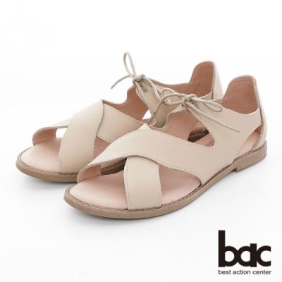 【bac】繽紛曼谷 -波浪大交叉綁帶涼鞋-米色