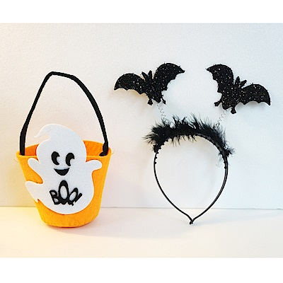 摩達客 萬聖節派對道具配件-橘白小精靈糖果袋+黑色羽毛可愛小蝙蝠髮箍(1+1組合)
