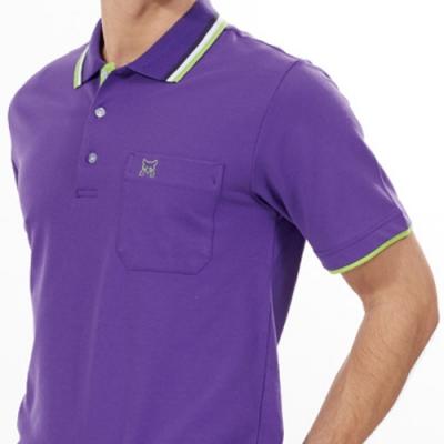 Abel Fox s Sports紫色綠邊男版短袖POLO衫-AFQ108-26