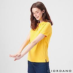 GIORDANO 女裝麋鹿漸層刺繡短袖POLO衫-06 水仙花黃