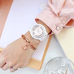 RELAX TIME Garden系列幸運草鏤空陶瓷錶-白x玫瑰金(RT-80-2)