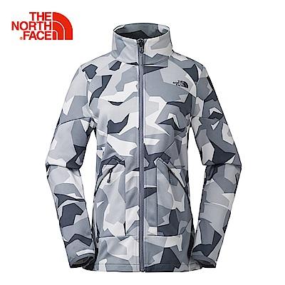 The North Face北面女款黑色迷彩舒適保暖抓絨外套 3L9GZ2S