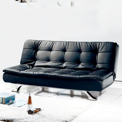 AS-海莉黑皮沙發床-183x118x42cm