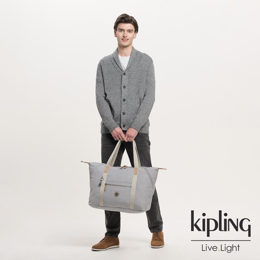 Kipling 低調皮革質感霧灰手提側背包-ART M