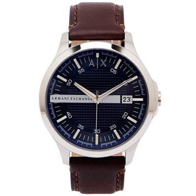 ARMANI EXCHANGE 時尚風皮革手錶(AX2133)-藍面X咖啡色/46mm