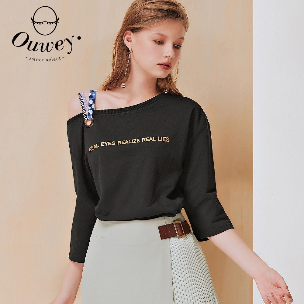 OUWEY歐薇 單肩造型大圓領寬鬆七分袖上衣(黑)3211161001