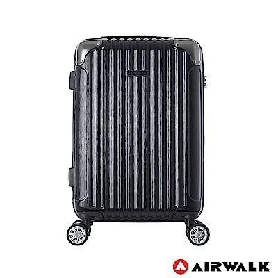 AIRWALK- 都市行旅24吋特光立體拉絲金屬護角輕質拉鍊行李箱 - 極光黑