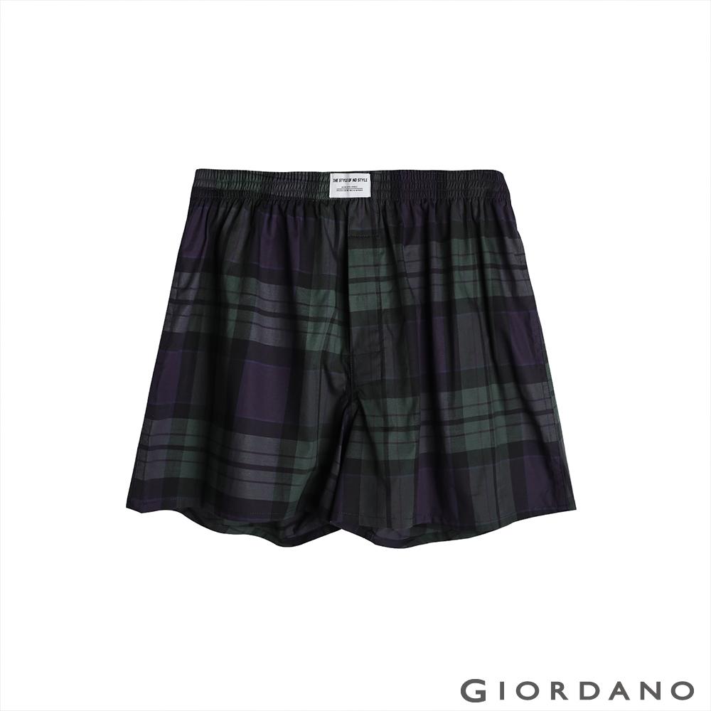 GIORDANO 男裝平織寬鬆四角褲 - 06 藍/綠/紫格紋