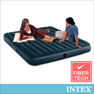 INTEX 經典雙人特大(fiber-tech)充氣床(綠絨)-寬183cm(64735)