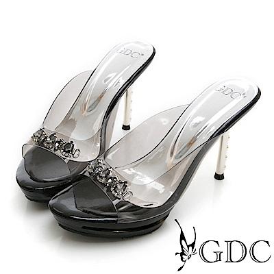 GDC-貴氣玻璃公主璀璨水鑽中跟拖鞋-黑色