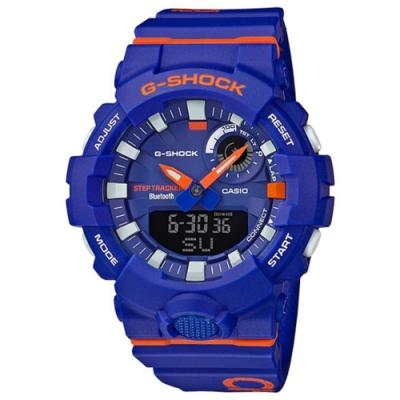G-SHOCK 百搭玩色運動計步藍芽雙顯錶(GBA-800DG-2A)藍X橘/54.1mm